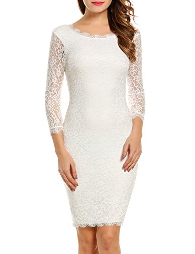 ACEVOG Women Ladies Package Hip Knee Length Floral Lace Pencil Party Dress (Small, White)
