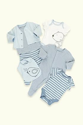 7 Piece Petit Bebe Pure Cotton Assorted Starter Set [T78-8217B-Z]