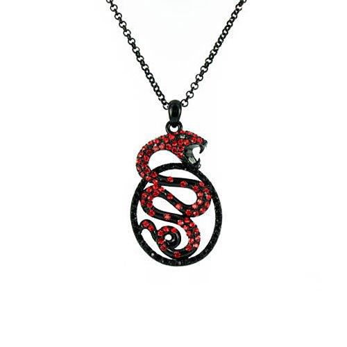 Red on Black Cobra Snake Necklace