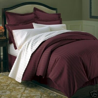 2013 Sale Stripes Burgundy 600 Thread Count Full Queen Size Duvet
