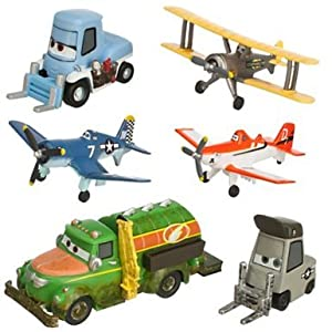 Disney Planes Figure Play Set - Propwash Junction with Dusty - Skipper - Leadbottom - Chug - Dottie - Sparky