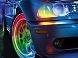 車 バイク タイヤ 自転車 バルブキャップ LEDライト 電飾 照度センサー付き 4個セット 【レインボー】