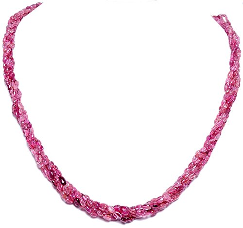 6 Rows of Pink Tourmaline Gemstone Oval Shape Bead Twisted Necklace (multicolor)
