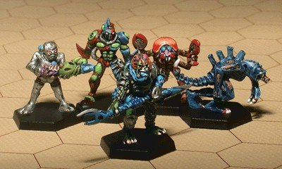 em4: Star Travelers - Aliens Miniatures Set (5) Solid Pewter, Fully Painted