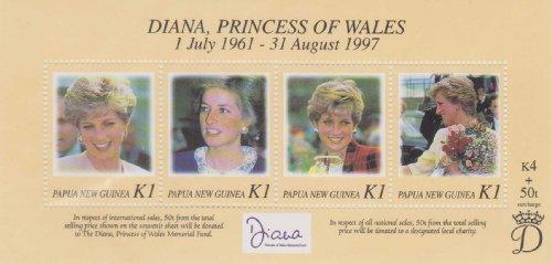 Diana, Princess Of Wales Papua New Guinea 1998 #937 A-D