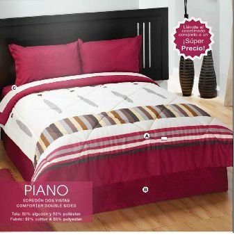 Limited Edition 'Piano' Complete Double Sided Comforter Set and Curtains (Queen)