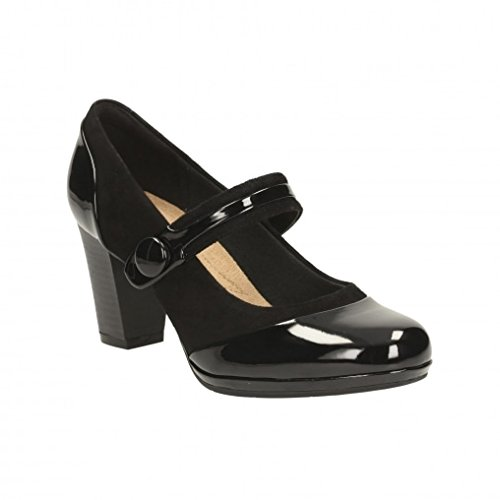 Clarks Brynn Mare - Black Combi (Leather) Womens Heels 9 US (Combi Bar compare prices)