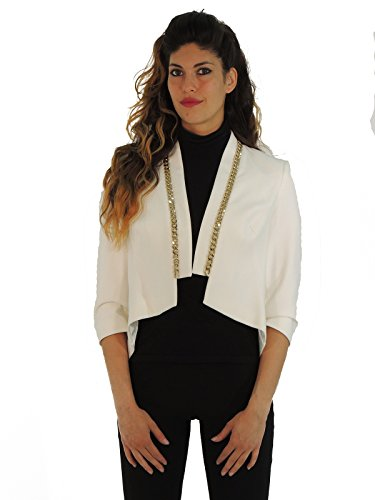 Elisabetta Franchi giacca donna fondo asimmetrico blazer GI6373366 (42, AVORIO)