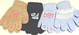 Set of Four Pairs Stretch One Size Magic Gloves for Infants Ages 1-4 Years