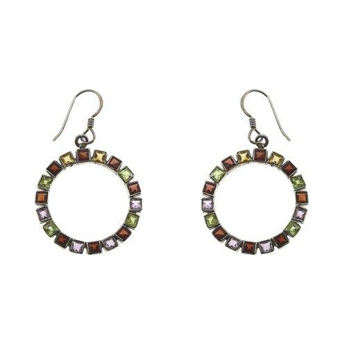 Handmade India Silver Jewellery Dangle Earring Multi Gemstone