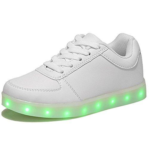 HUSK'SWARE LED 7 Colori Cambi- Sneaker Scarpe Bambini Bambina Unisex Collo Basso Tennis (EU 34, Bianca)