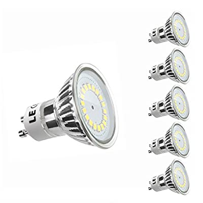 LE MR16 GU10 LED Bulbs, 50W Halogen Bulbs Equivalent, 3.5W, 300lm, Daylight White, 6000K, 120°Beam Angle, Recessed Lighting, Track Lighting, LED Light Bulbs, Pack of 5 Units