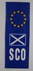 "Scotland St Andrews Flag with EU flag Car Badge 1.5"" x 4.5"" (by Castle)"