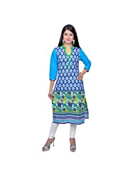 Vasudha Cotton Blue Printed 3/4 Sleeves Long Kurti - B00S9M00GK