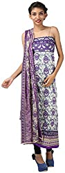 Hardy's Style Women's Cotton Dress Material (HS-53, Cream & Purple)