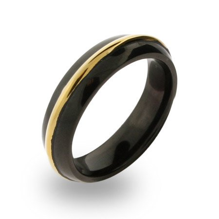 Mens Stainless Steel Black Plated Gold Rimmed Band Size 10 (Sizes 10 11 12 Available)