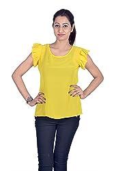 Iande Plain Yellow Georgette Top