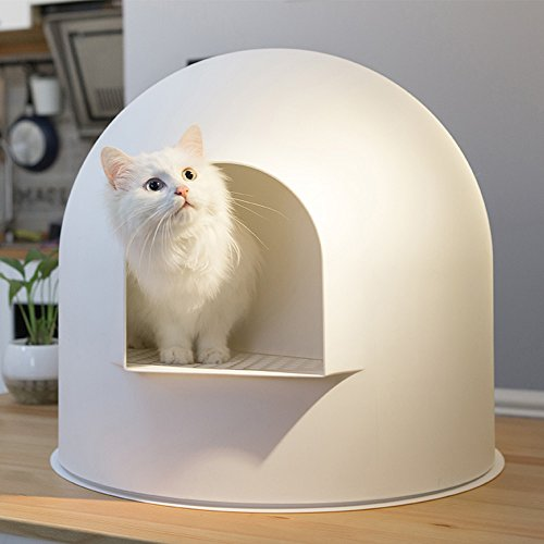Choler Large White Cat Litter Box Round Snow House Fully Enclosed Cat Toilet Potty Deodorant