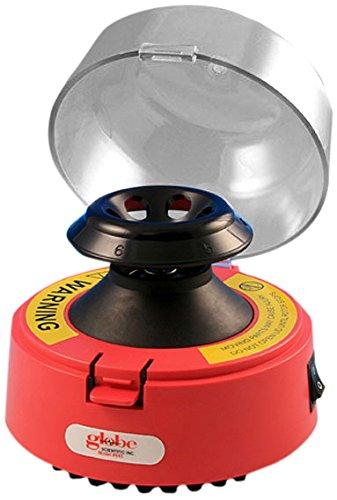 "Globe Scientific 545R-230 Mini Centrifuge, 13.3"" Length X 4"" Width X 5.3"" Height, 230V, Red"