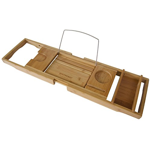 Bamboo Bathtub Caddy with Arms That Extend From 29 Up To 43 Inches, Bathtub Tray, Large Wine Glass Holder, iPhone Slot, Collapsible Book and iPad Holder, and Removable Accessories Tray (Wine Rack With Removable Tray compare prices)