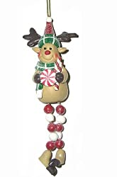 "7"" Candy Reindeer Peppermint Drop Dangle Christmas Ornament"
