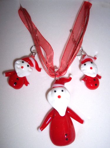Red White Glass Santa Claus Necklace and Earrings