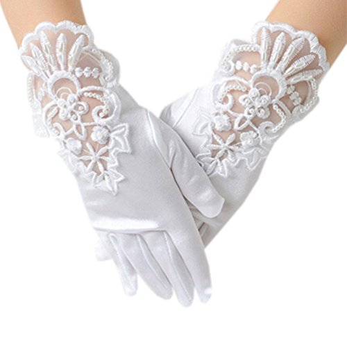 Dudebabe Flower Girl Embroidered Lace Glove Wedding Gloves Performance Pageant White L