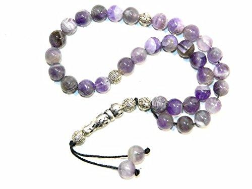 E1-0012 - Prayer Beads Worry Beads Tasbih 8mm Amethyst Gemstone Handmade