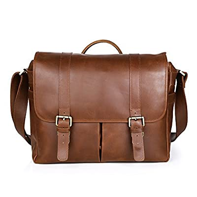 "Koolertron Perfect Vintage Retro Genuine Leather Multi-pockets DSLR Camera Bag/Messenger/Shoulder/Handbag 15.6"" Laptop Bag For Sony Canon Nikon Olympus and More Brown"