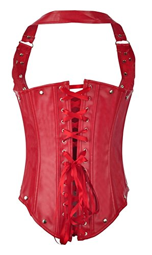 Womens Corset Bustier Leather Buckles Underbust design Corsets S-XXL Black Red elixir 12002