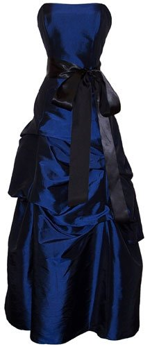 Strapless Taffeta Bridesmaid Prom Holiday Formal Gown Long Dress Junior Plus Size, Large, Navy Blue