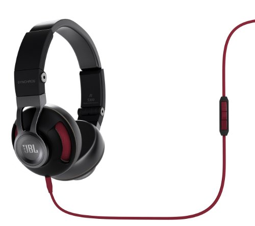 Jbl Synchros S300 Premium On-Ear Stereo Headphones With Apple 3-Button Remote, Black/Red