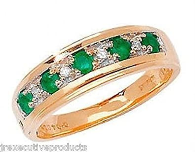 J R Jewellery 406756 9ct Gold Real Emerald & Diamond Half Eternity Ring