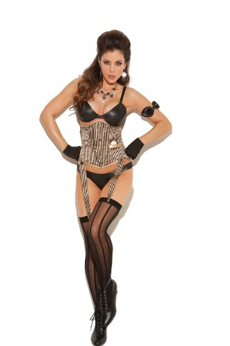Steampunk Bustier - 34 - Black/tan