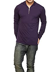 Gritstones Mens Hooded Cotton T-Shirt (GSFSZPHDD60050NVY_Navy Blue_Large)