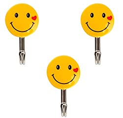 Self Adhesive Smiley Hooks, 3 Pieces, Load Capacity 1kg