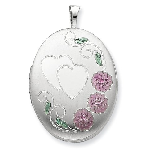 Sterling Silver 20mm Enameled, D/C Floral & Heart Oval Locket