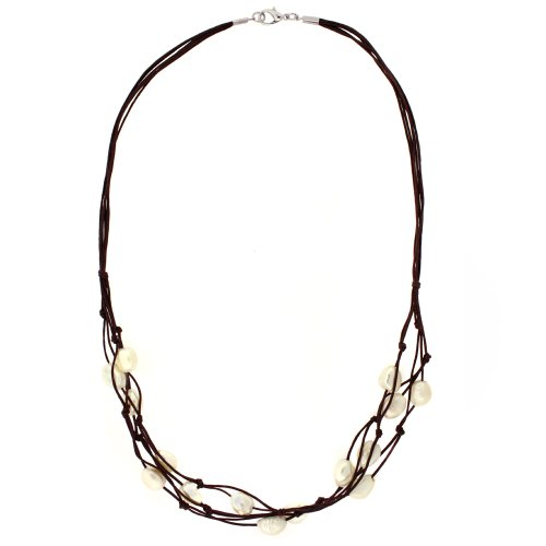 Pearl Layered Jessica Cord Seaside Necklace in Nutmeg Brown