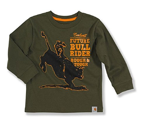 Carhartt Baby-Boys Infant Long Sleeve T-Shirt Future Bull Rider, Ivy Green, 12 Months front-865101