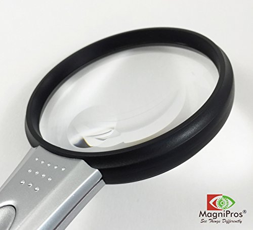 "MagniPros® 3x Ultra Bright & Lightweight Portable LED Handheld Magnifier 2.75"" Diameter with 5x Bifocal Lens- Large Viewing Area"