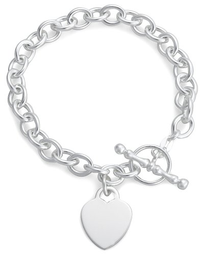 Heart T-Bar Bracelet, Silver, 19cm Length, Model 8.27.0772