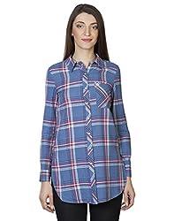 IRALZO Blue Casual Check Shirt
