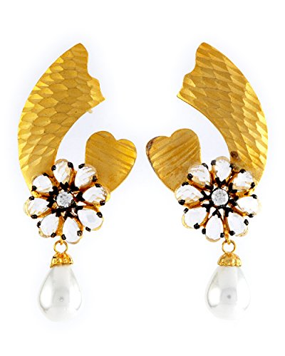 1.1⁰ By Xpressionss Designer Floral Gold Plated Dangle Earring With Pearl Drops And Zirconia F-XPE0815120
