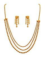 JFL - Traditional and Ethnic One Gram Gold Plated Multi Strands Necklace / Jewellery Set with Earrings for Women and Girls