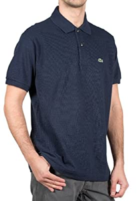 Lacoste Men's Ribbed Collar Shirt Navy Blue L1212-51-166 (SIZE: M)