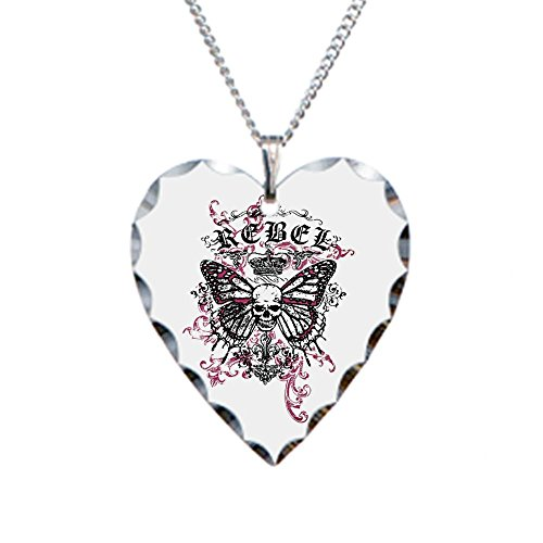 Necklace Heart Charm Rebel Butterfly Skull Goth