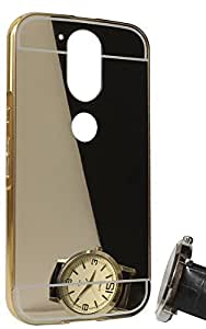 Droit Luxury Metal Bumper + Acrylic Mirror Back Cover Case for Moto G4 Plus By Droit Store + Flexible Portable Thumb OK Stand by Droit Store.
