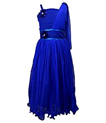 Motley Girls' Dress (4-5-M026_4-5 Years_Blue_4-5 Years)