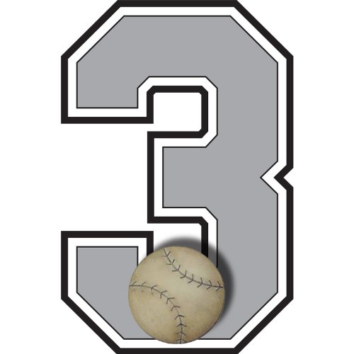 """""""3"""" Baseball Jersey Number Varsity Uniform Wall Sticker. Decal Numbers For Children'S, Nursery & Baby'S Sport Room Decor, Baby Wall Team Number Stickers, Boys Bedroom Wall Sports Decorations. Sports Balls Mural Walls Decals Baby Shower front-956897"""