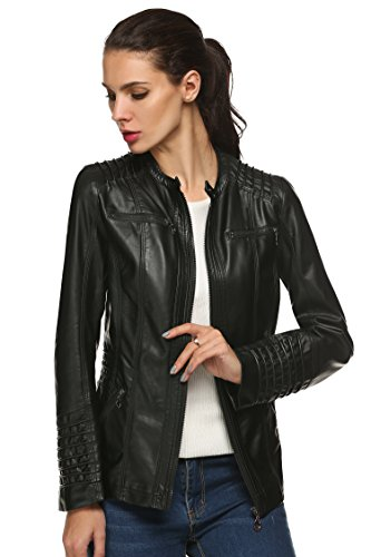 ANGVN Women Fashion Detachable Hooded Leather Jacket Coat for Winter (XXL, Black(FBA))